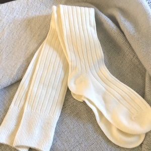 Dav Over the Knee Cable Knit Socks Ivory